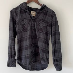 TNA XXS flannel gray button up with hood